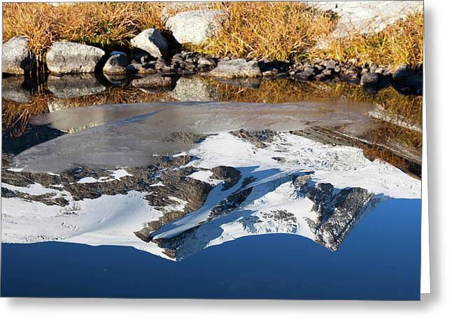 Reflection Of Mount Hoher Zaun Greeting Card by Martin Zwick