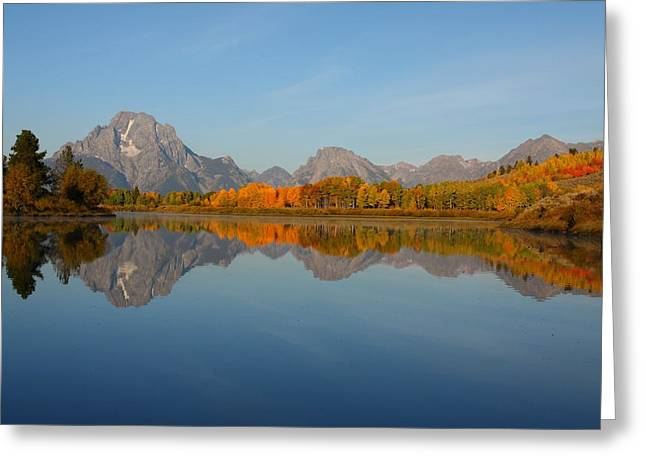 Reflection Of Mount Moran In Autumn Greeting Card by Jetson Nguyen