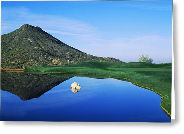 Reflection Of Mountain On Water, Desert Greeting Card by Panoramic Images