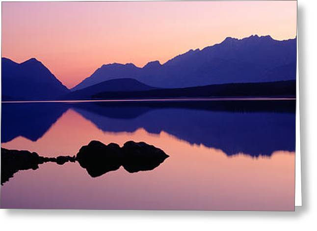 Reflection Of Mountains In Water, Upper Greeting Card