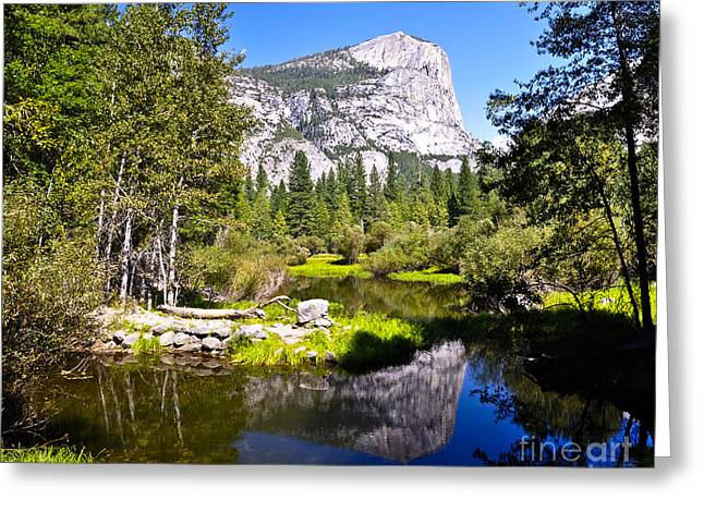 Reflection Of Mt Watkins In Mirror Lake Located In Yosemite National Park Greeting Card by Camille Lyver