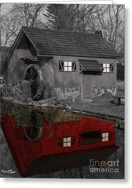 Reflection Of Red Mill Greeting Card