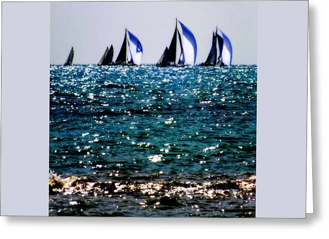 Reflection Of Sails Greeting Card by Karen Wiles