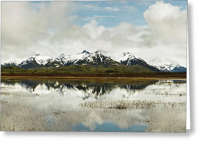 Reflection Of Snowcapped Chugach Greeting Card