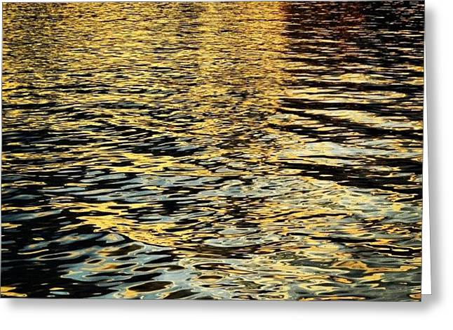 Reflection Of The Sunset On The Water Greeting Card