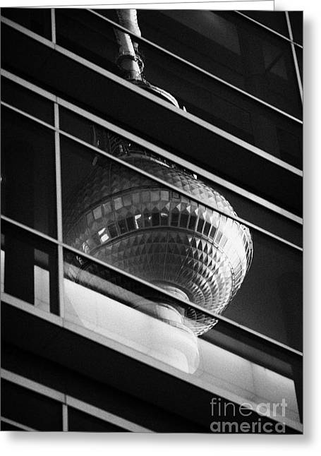 reflection of the top of the berliner fernsehturm Berlin TV tower symbol of east berlin Germany Greeting Card by Joe Fox