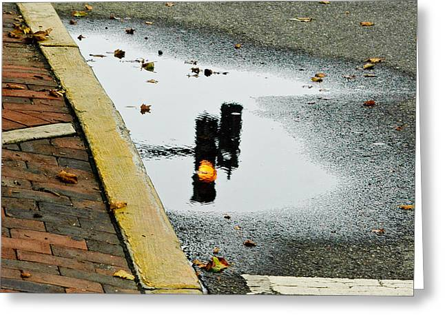 Reflection Of Traffic Light In Street Puddle Greeting Card by Gary Slawsky