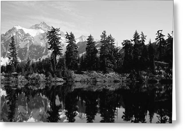 Reflection Of Trees And Mountains Greeting Card