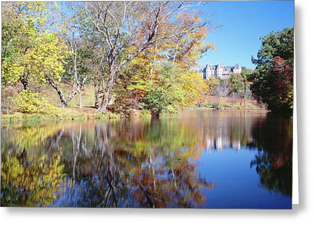 Reflection Of Trees In A Lake, Biltmore Greeting Card by Panoramic Images