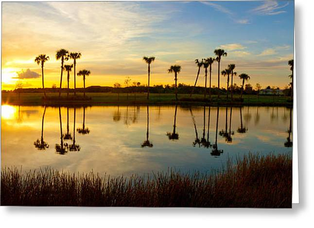 Reflection Of Trees In Water At Sunset Greeting Card by Panoramic Images
