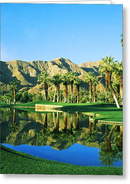 Reflection Of Trees On Water In A Golf Greeting Card