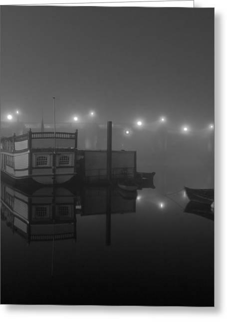 Reflection On Misty Thames  Greeting Card by Maj Seda