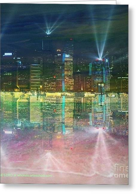 Reflection Water Skyline Greeting Card by PainterArtist FIN