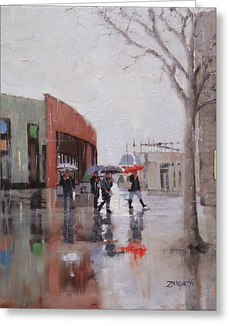 Reflections At Patriot Place Greeting Card by Laura Lee Zanghetti