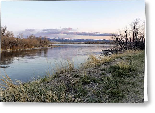 Reflections At Sunset At The Helena Reservoir Greeting Card by Dana Moyer