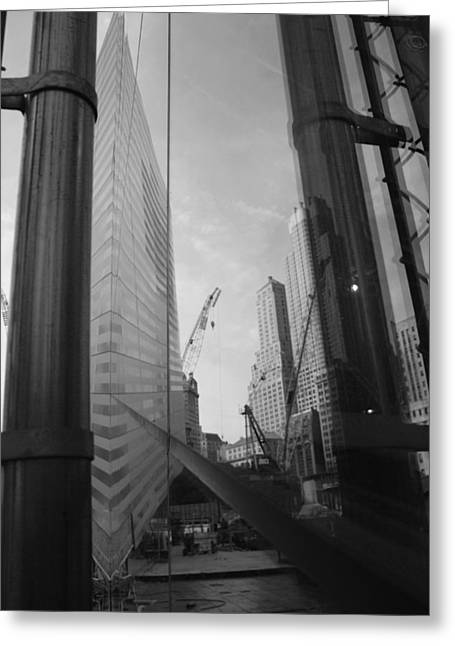 Reflections At The 9/11 Museum In Black And White Greeting Card by Rob Hans