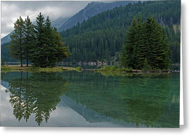 Reflections At Two Jack Lake Greeting Card