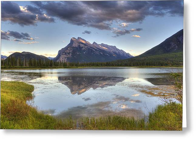 Reflections At Vermillion Lakes  Greeting Card by Darlene Bushue