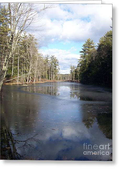 Reflections Caught On Ice At A Pretty Lake In New Hampshire Greeting Card by Eunice Miller