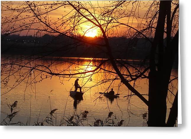 Reflections Fishermen Sunset Greeting Card
