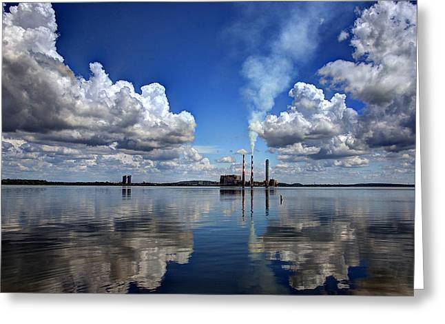 Reflections In Blue Greeting Card by Jean Hutchison