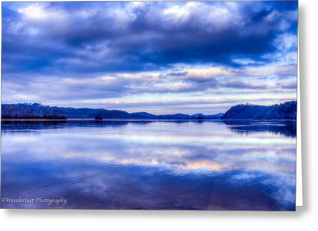 Reflections In Blue Greeting Card by Paul Herrmann