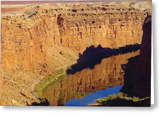 Reflections In The Colorado River Greeting Card by Jeff Swan
