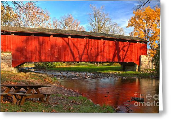 Reflections In The Conestoga River Greeting Card by Adam Jewell