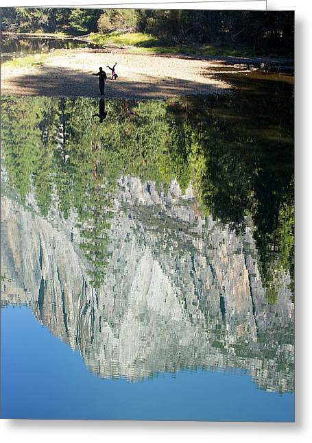 Reflections In The Merced River Greeting Card by Ashley Cooper