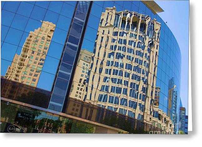 Greeting Card featuring the photograph Reflections In The Rolex Bldg. by Robert ONeil