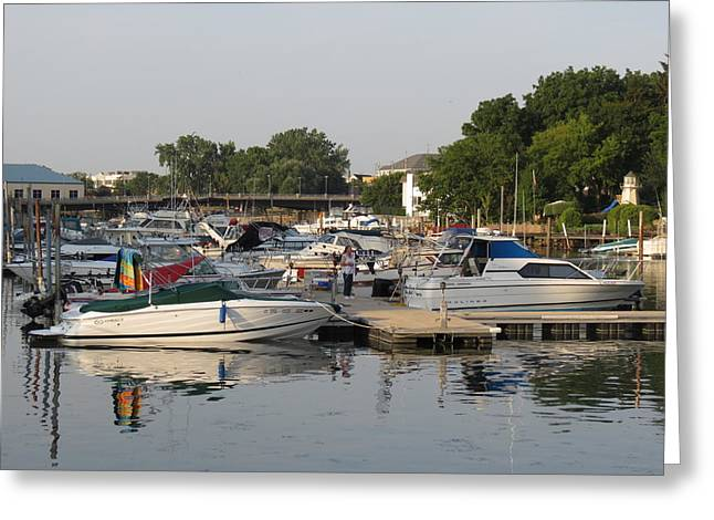 Reflections In The Small Boat Harbor Greeting Card by Kay Novy