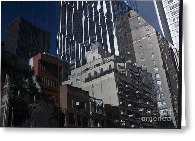 Reflections Of A City Greeting Card by Karol Livote