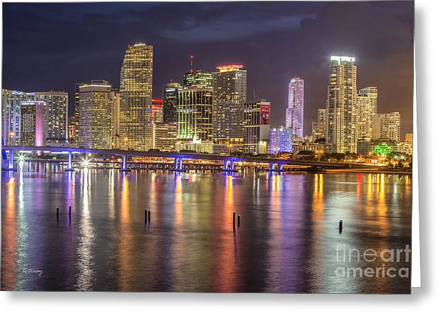 Reflections Of A Miami Skyline Greeting Card by Rene Triay Photography