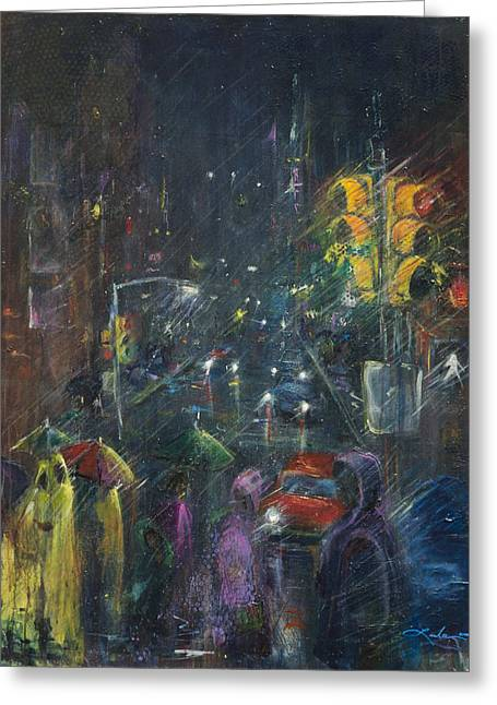 Reflections Of A Rainy Night Greeting Card by Leela Payne