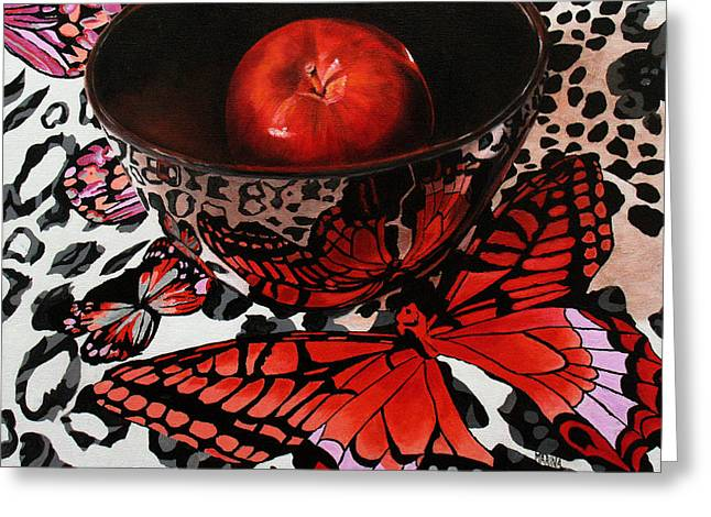 Reflections Of A Red Butterfly Greeting Card by Marina Petro