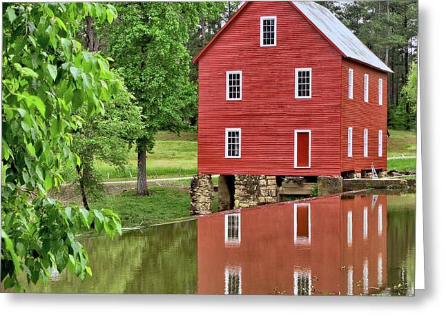 Reflections Of A Retired Grist Mill - Square Greeting Card by Gordon Elwell