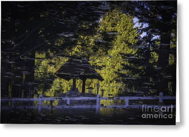 Reflections Of A Wishing Well Greeting Card by Mitch Shindelbower