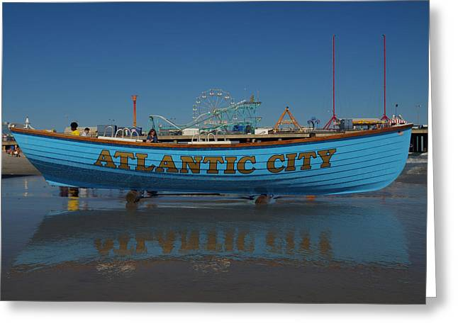 Reflections Of Atlantic City Greeting Card by Joshua House