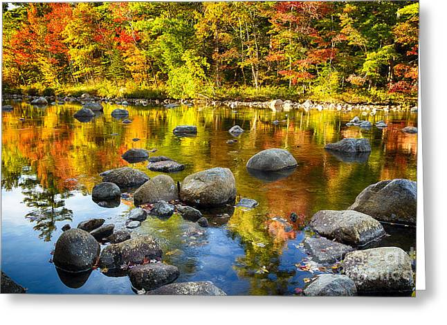 Reflections Of Autumn Foliage In A River Greeting Card by George Oze