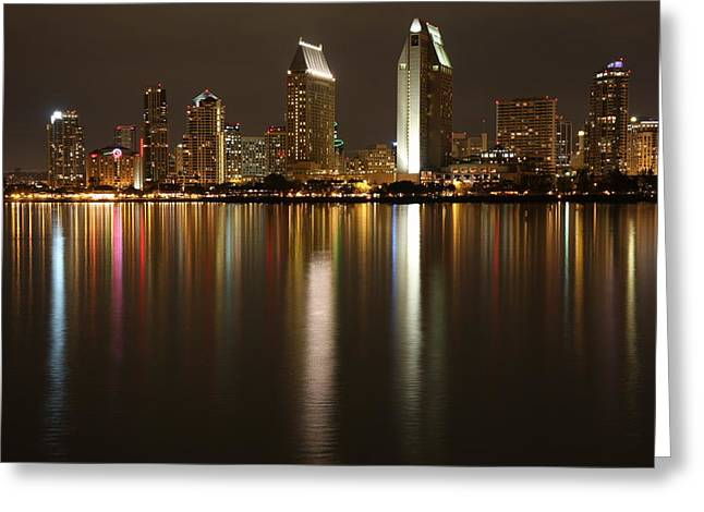 Reflections Of Downtown San Diego Greeting Card
