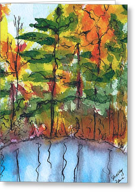 Reflections Of Fall Greeting Card by Shelley Bain