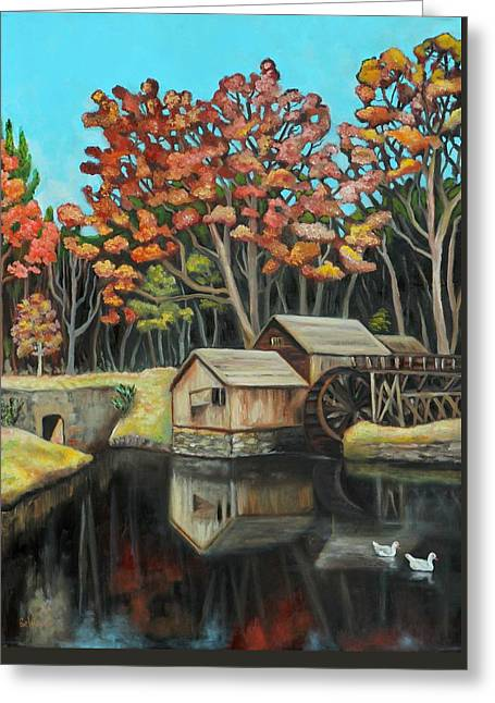 Reflections Of Mabry Mill Greeting Card by Eve  Wheeler