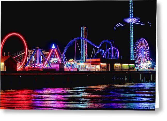 Reflections Of Pleasure Pier Greeting Card by Tom Weisbrook