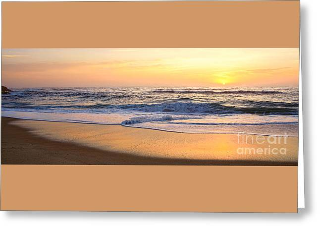 Reflections Of Sunrise Panorama By Kaye Menner Greeting Card by Kaye Menner
