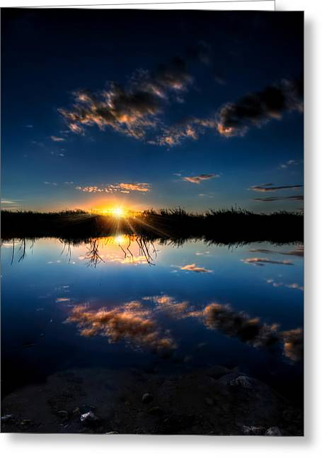 Reflections Of Sunset Greeting Card by Mark Andrew Thomas