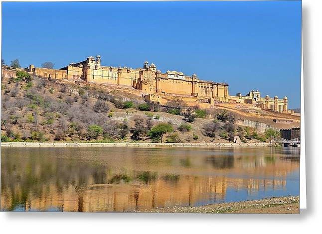 Reflections Of The Amber Fort - Jaipur India Greeting Card