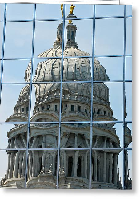 Reflections Of The Capitol Greeting Card by Christi Kraft