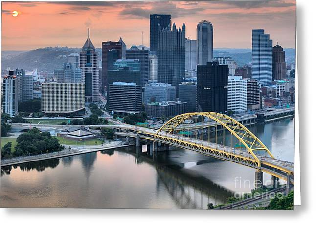 Reflections Of The Pittsburgh Skyine Greeting Card