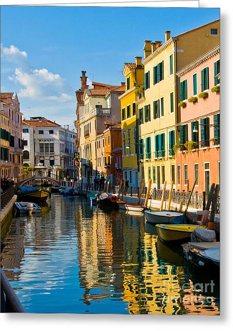 Reflections Of Venice II Greeting Card by Sheila Laurens