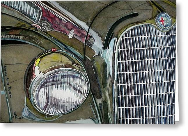 Greeting Card featuring the painting Reflections On 1931 Alfa Romeo Milano by Anna Ruzsan